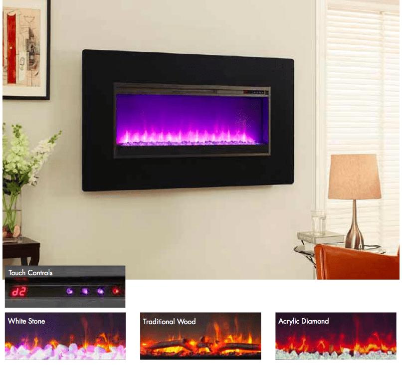 Muskoka Electric Fireplace Insert Part - 30: ... MH57BL Muskoka 57u2033 Electric Wall Mount Fireplace. -29%